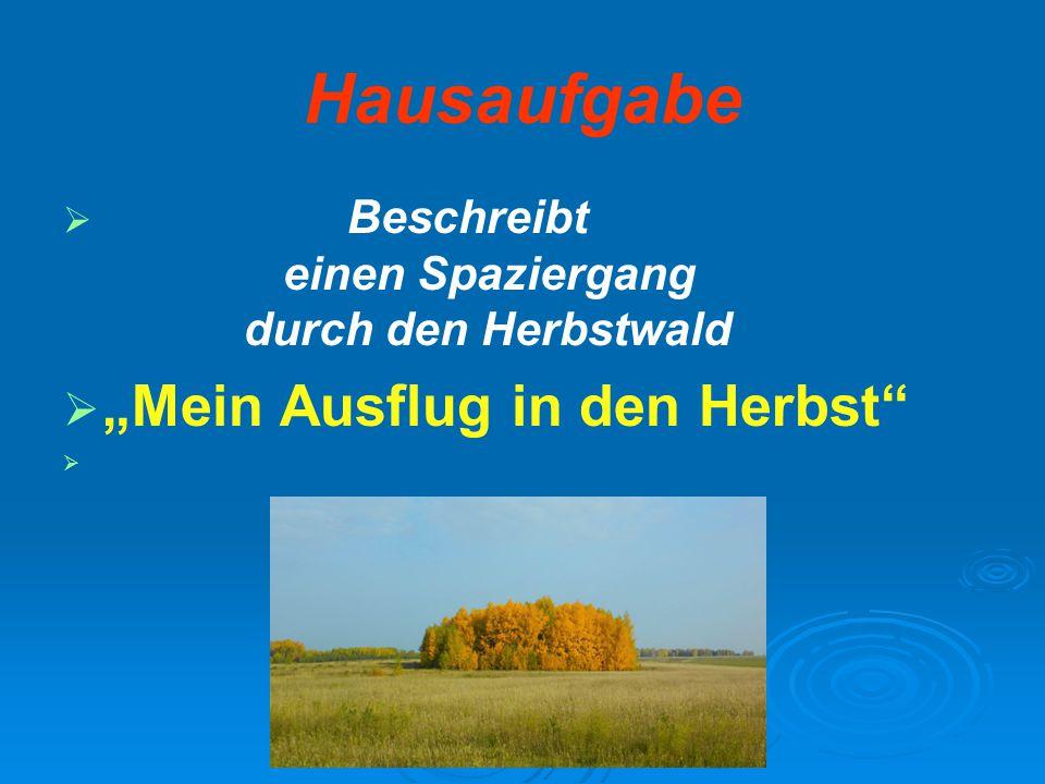 """Hausaufgabe """"Mein Ausflug in den Herbst"""