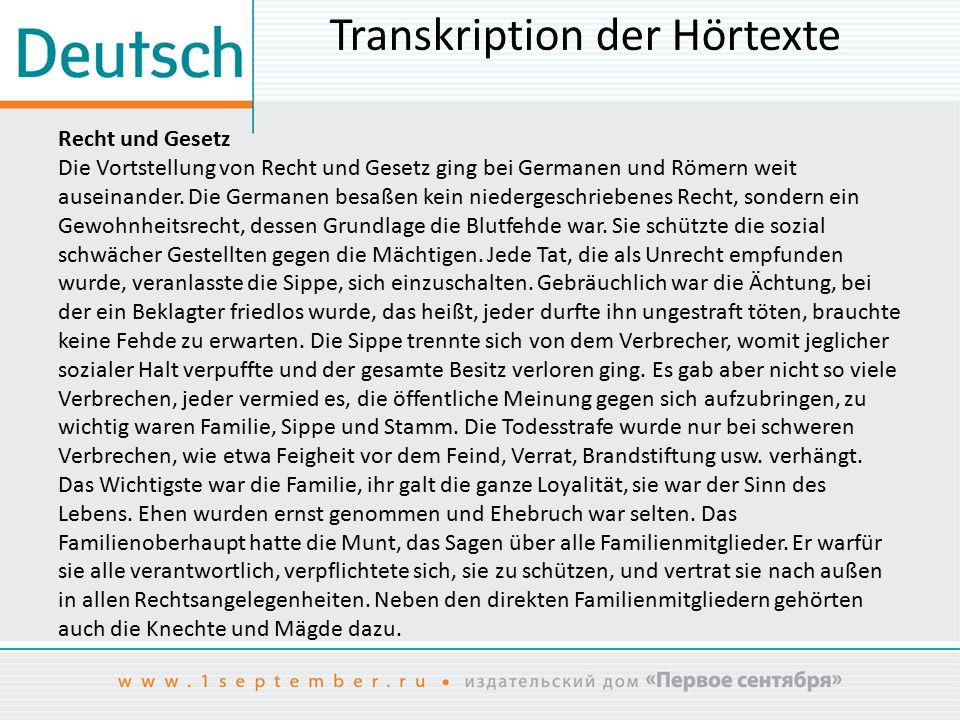 Transkription der Hörtexte