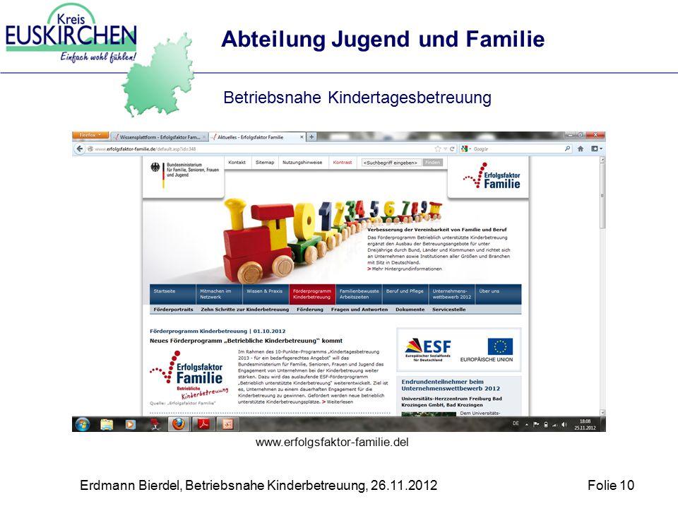 Erdmann Bierdel, Betriebsnahe Kinderbetreuung, 26.11.2012