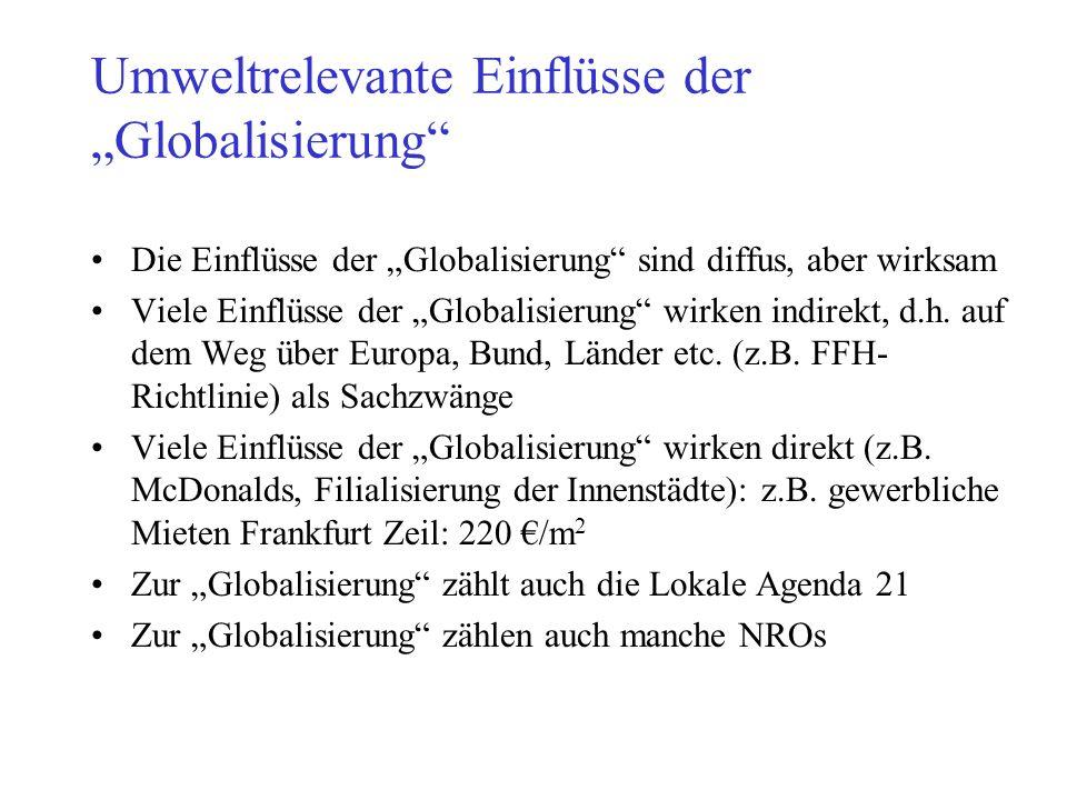 """Umweltrelevante Einflüsse der """"Globalisierung"""