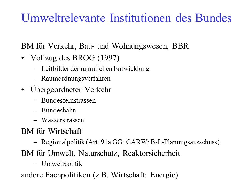 Umweltrelevante Institutionen des Bundes