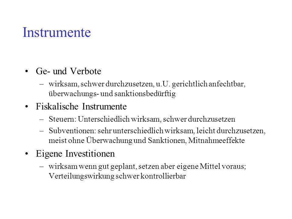 Instrumente Ge- und Verbote Fiskalische Instrumente