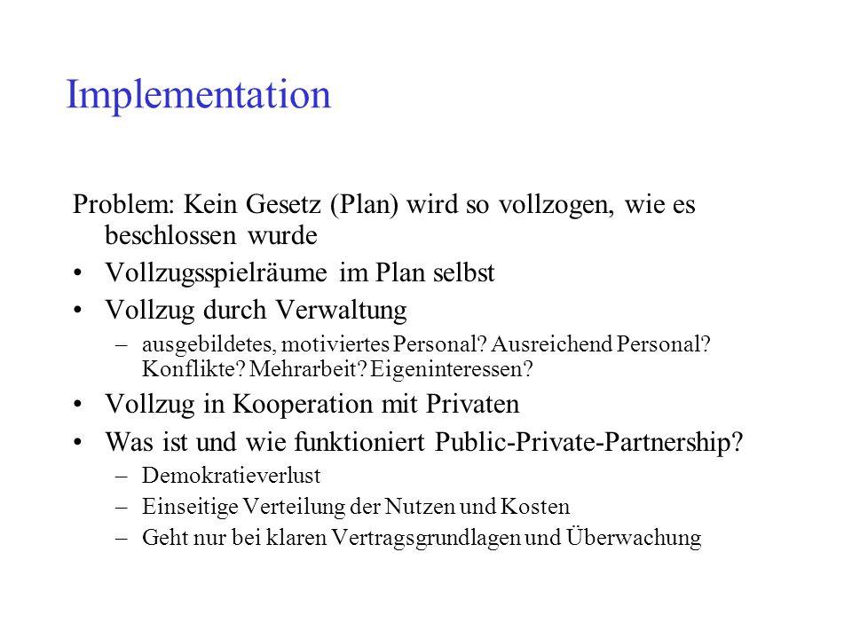 Implementation Problem: Kein Gesetz (Plan) wird so vollzogen, wie es beschlossen wurde. Vollzugsspielräume im Plan selbst.