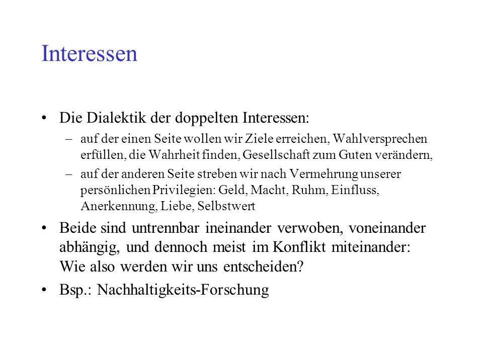 Interessen Die Dialektik der doppelten Interessen: