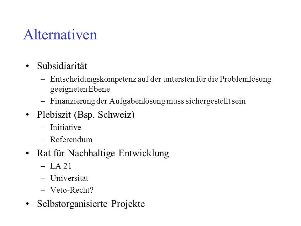 Alternativen Subsidiarität Plebiszit (Bsp. Schweiz)
