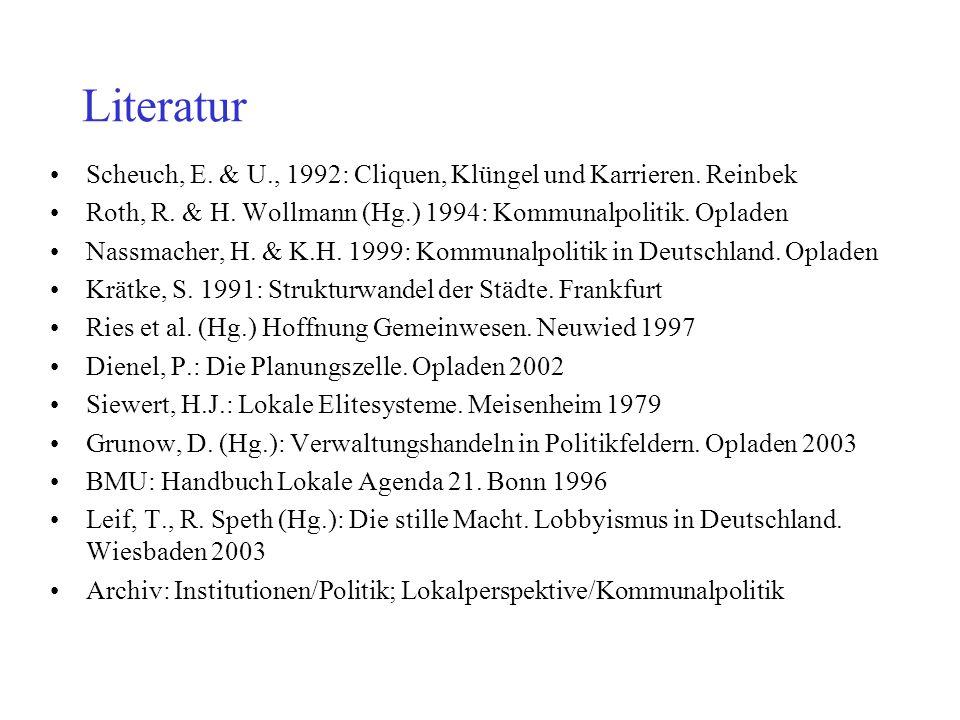 Literatur Scheuch, E. & U., 1992: Cliquen, Klüngel und Karrieren. Reinbek. Roth, R. & H. Wollmann (Hg.) 1994: Kommunalpolitik. Opladen.