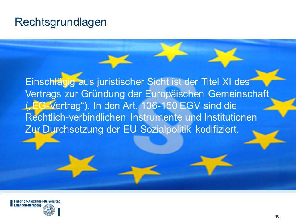 Rechtsgrundlagen Einschlägig aus juristischer Sicht ist der Titel XI des. Vertrags zur Gründung der Europäischen Gemeinschaft.
