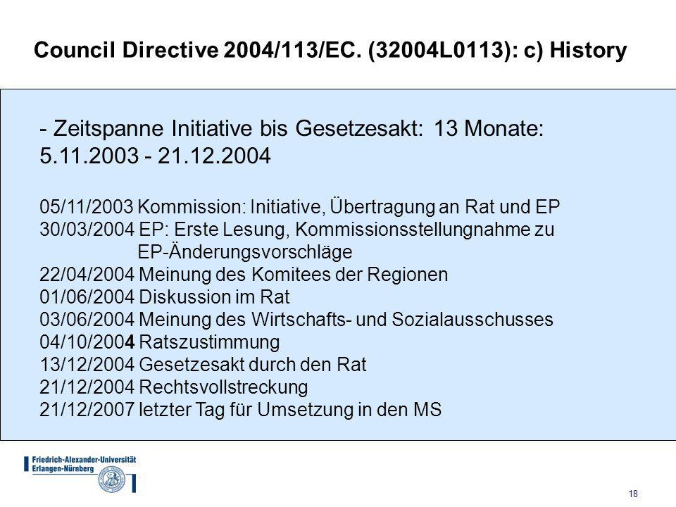Council Directive 2004/113/EC. (32004L0113): c) History