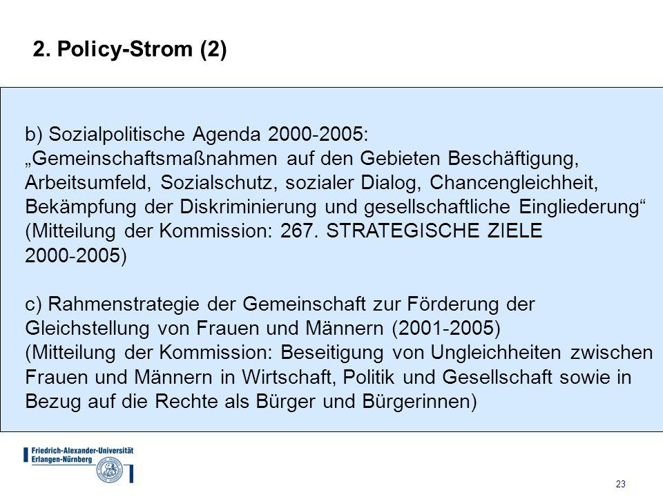 2. Policy-Strom (2) b) Sozialpolitische Agenda 2000-2005: