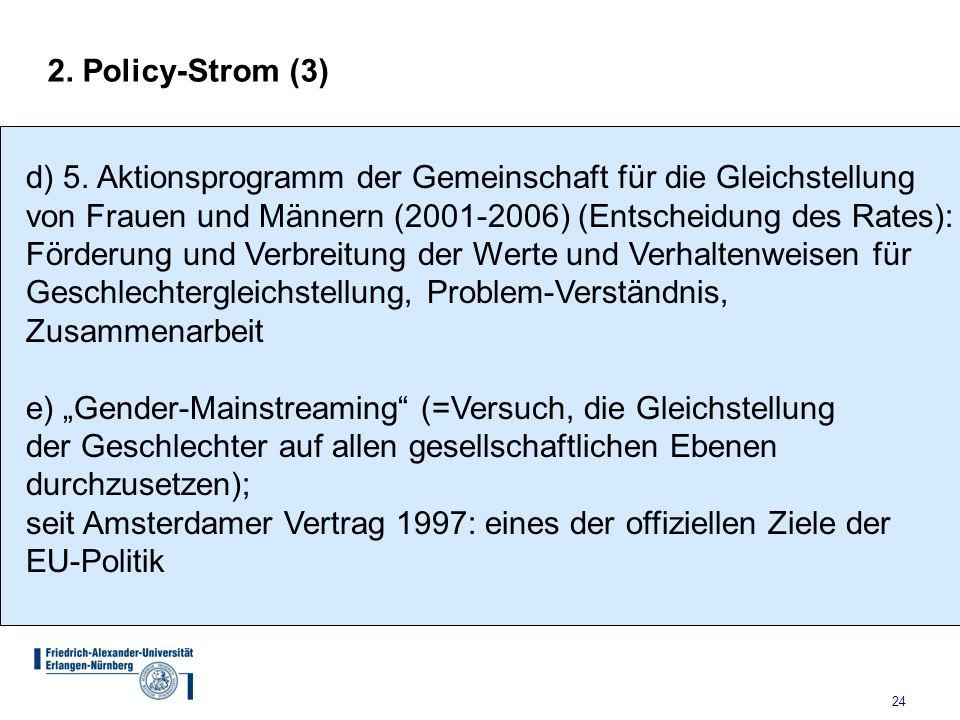 2. Policy-Strom (3) d) 5. Aktionsprogramm der Gemeinschaft für die Gleichstellung. von Frauen und Männern (2001-2006) (Entscheidung des Rates):