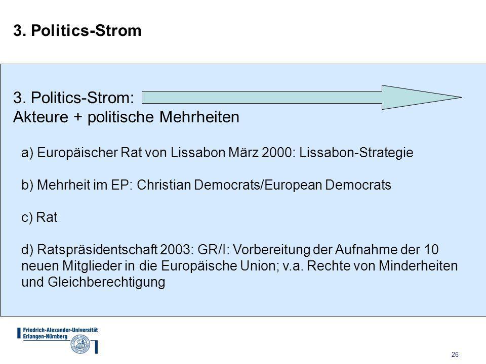Akteure + politische Mehrheiten