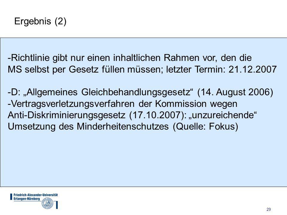 Ergebnis (2) Richtlinie gibt nur einen inhaltlichen Rahmen vor, den die. MS selbst per Gesetz füllen müssen; letzter Termin: 21.12.2007.