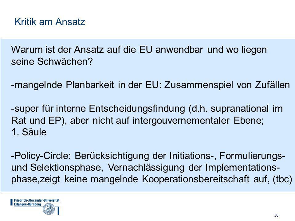 Kritik am Ansatz Warum ist der Ansatz auf die EU anwendbar und wo liegen. seine Schwächen