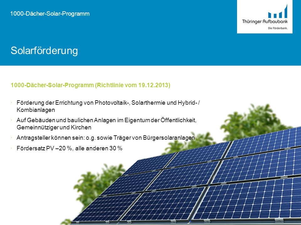Solarförderung 1000-Dächer-Solar-Programm