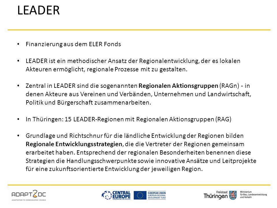 LEADER Finanzierung aus dem ELER Fonds