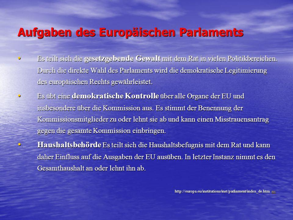 Aufgaben des Europäischen Parlaments