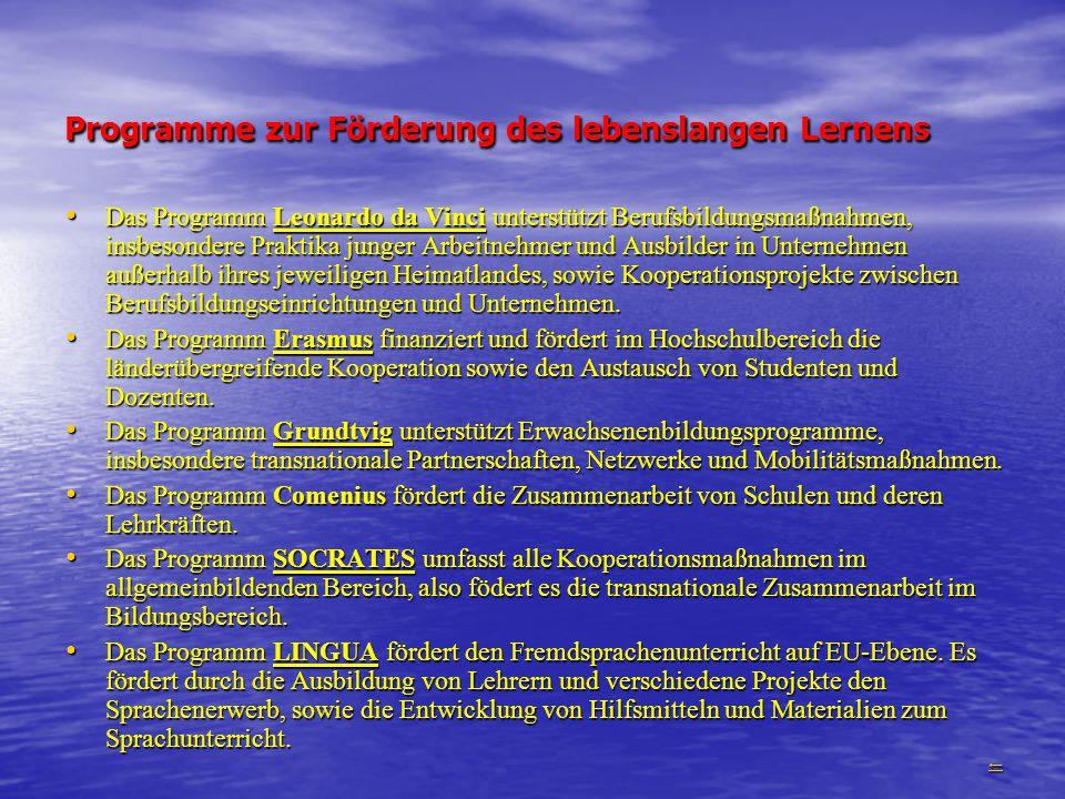Programme zur Förderung des lebenslangen Lernens
