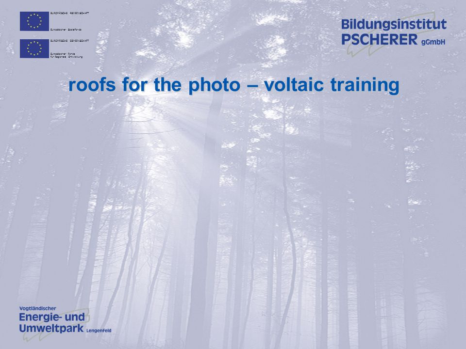 roofs for the photo – voltaic training