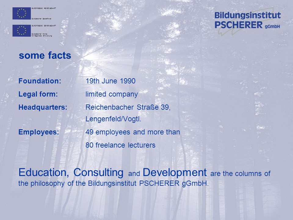 some facts Foundation: 19th June 1990. Legal form: limited company. Headquarters: Reichenbacher Straße 39, Lengenfeld/Vogtl.