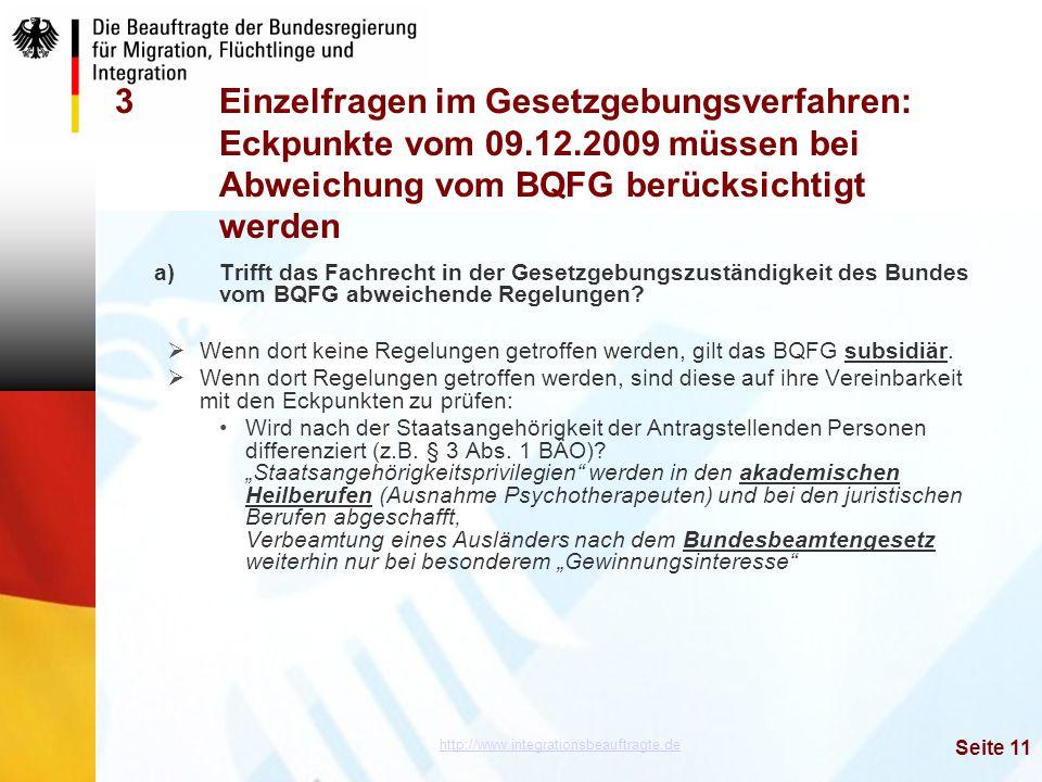 Einzelfragen im Gesetzgebungsverfahren:. Eckpunkte vom 09. 12