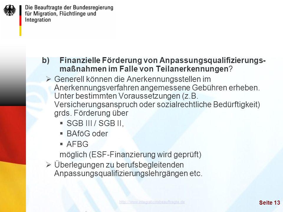 b). Finanzielle Förderung von Anpassungsqualifizierungs-