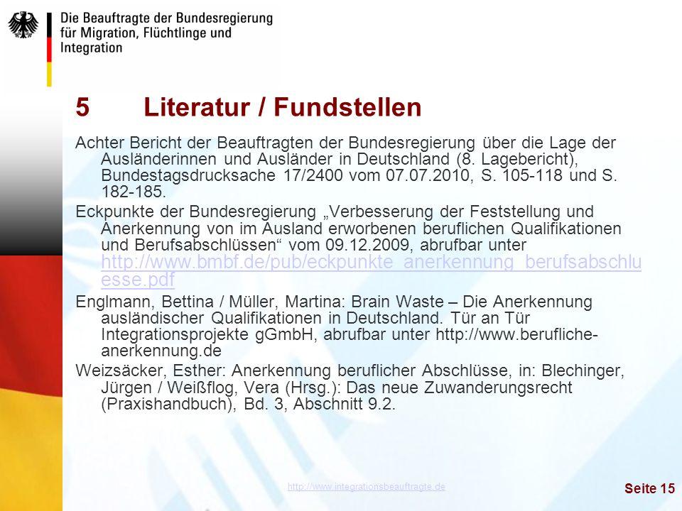 5 Literatur / Fundstellen