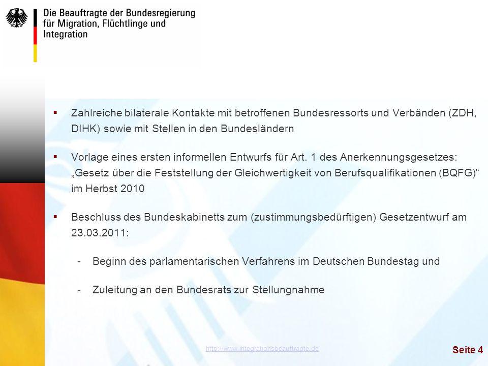 Zahlreiche bilaterale Kontakte mit betroffenen Bundesressorts und Verbänden (ZDH, DIHK) sowie mit Stellen in den Bundesländern