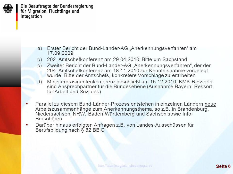 """Erster Bericht der Bund-Länder-AG """"Anerkennungsverfahren am 17. 09"""