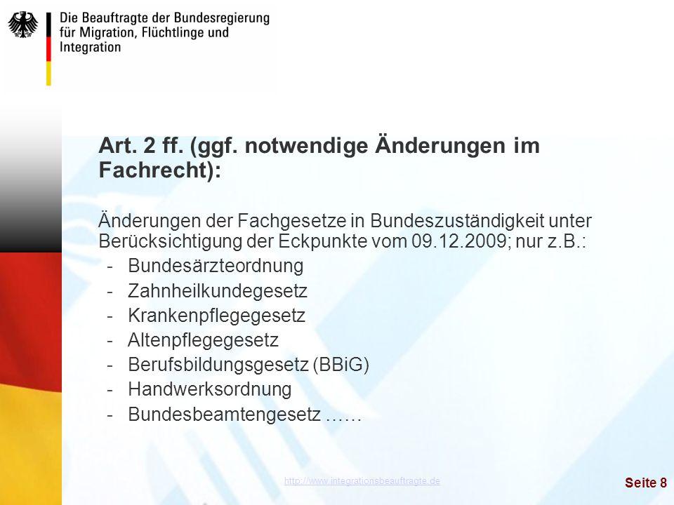 Art. 2 ff. (ggf. notwendige Änderungen im Fachrecht):