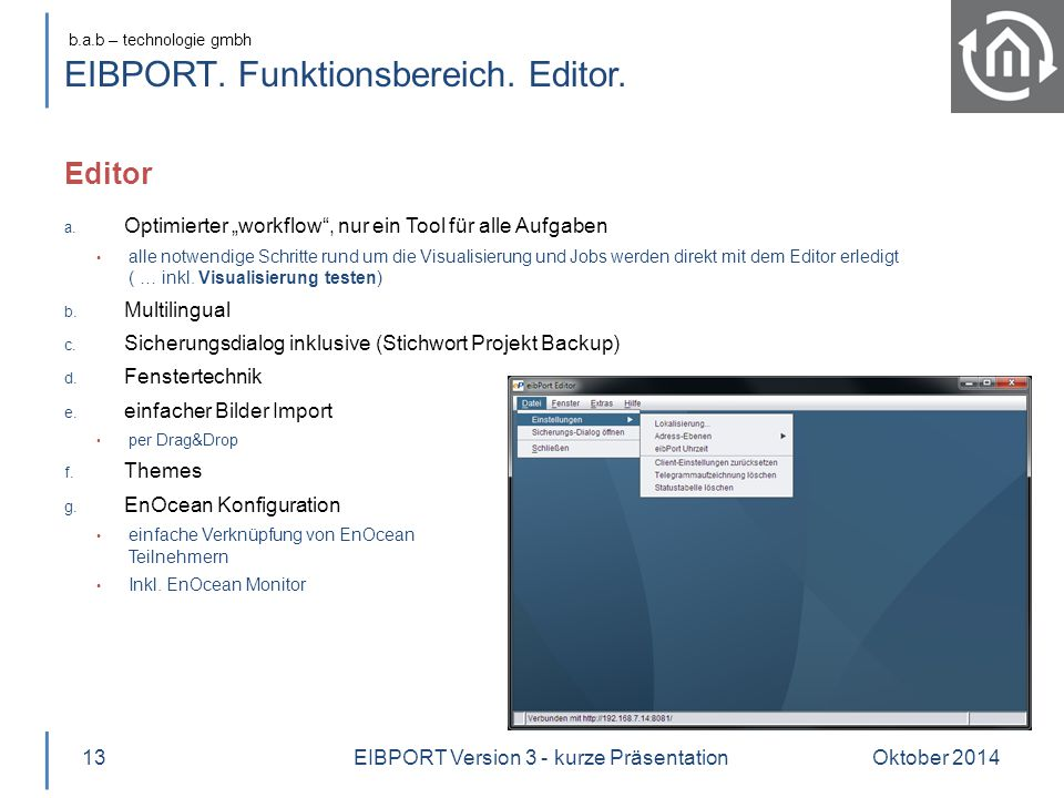 EIBPORT. Funktionsbereich. Editor.