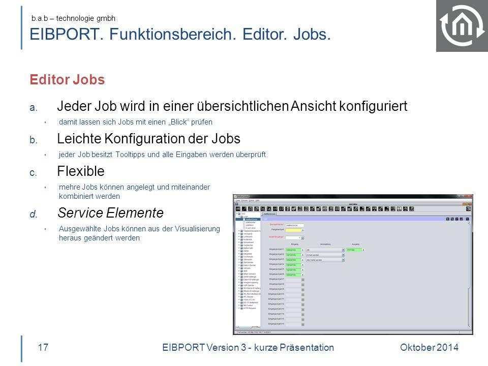 EIBPORT. Funktionsbereich. Editor. Jobs.