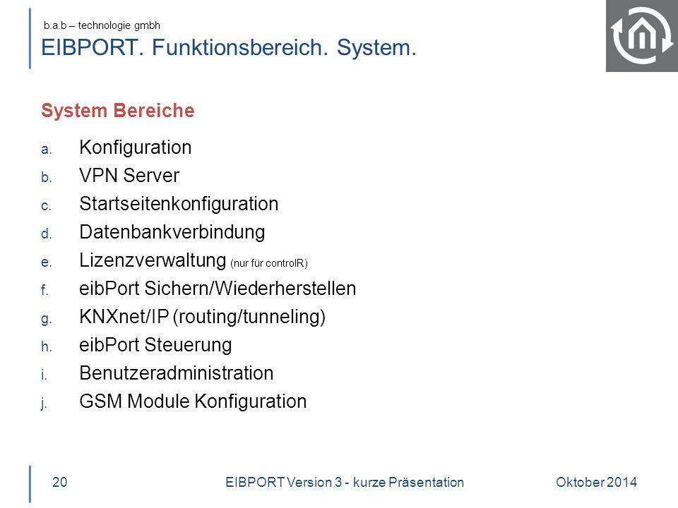 EIBPORT. Funktionsbereich. System.
