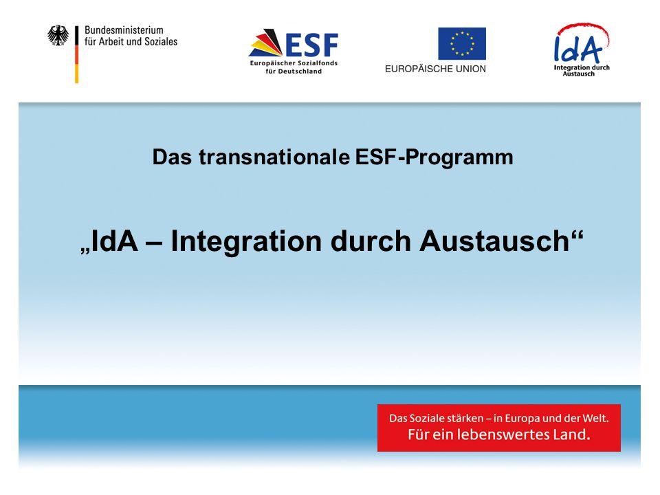 """Das transnationale ESF-Programm """"IdA – Integration durch Austausch"""
