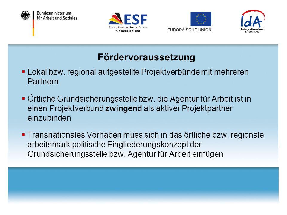 Fördervoraussetzung Lokal bzw. regional aufgestellte Projektverbünde mit mehreren Partnern.