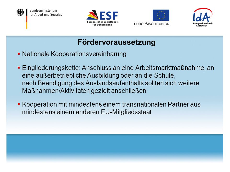 Fördervoraussetzung Nationale Kooperationsvereinbarung
