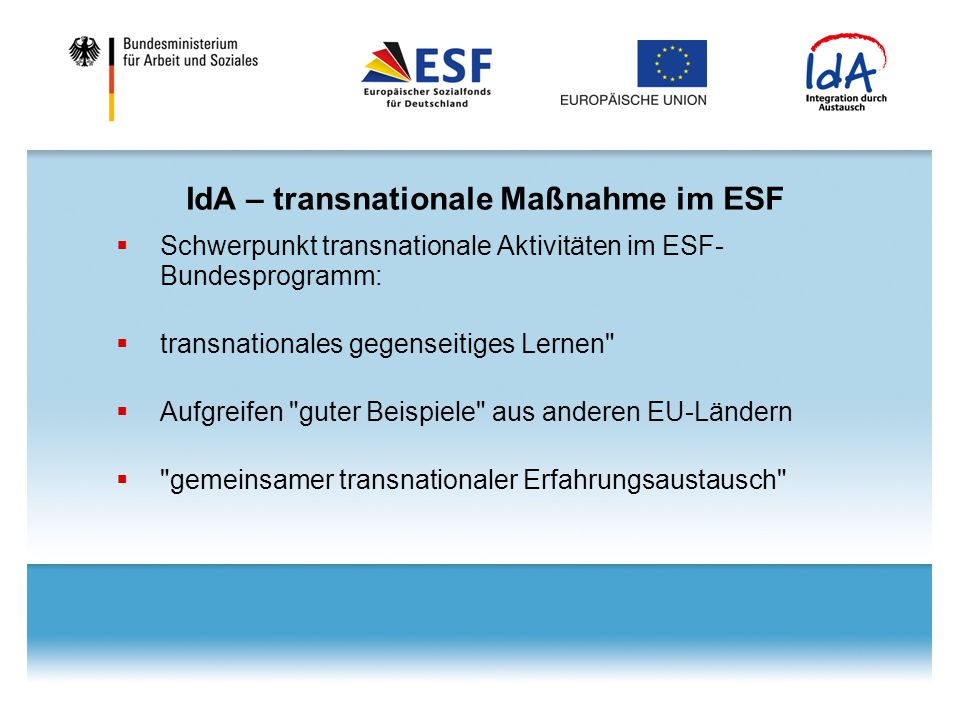 IdA – transnationale Maßnahme im ESF