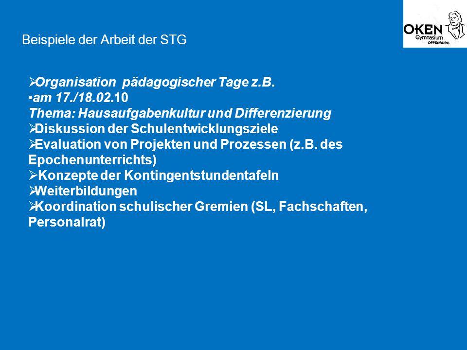 Beispiele der Arbeit der STG