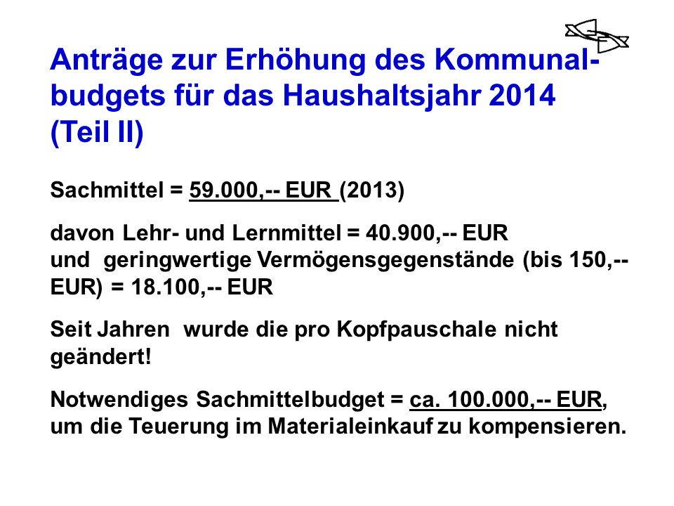 Anträge zur Erhöhung des Kommunal- budgets für das Haushaltsjahr 2014