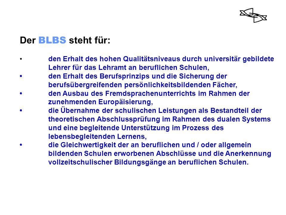 Der BLBS steht für: • den Erhalt des hohen Qualitätsniveaus durch universitär gebildete Lehrer für das Lehramt an beruflichen Schulen,