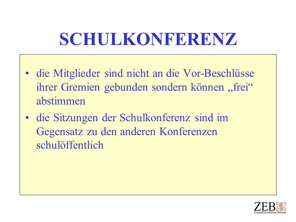"""SCHULKONFERENZ die Mitglieder sind nicht an die Vor-Beschlüsse ihrer Gremien gebunden sondern können """"frei abstimmen."""