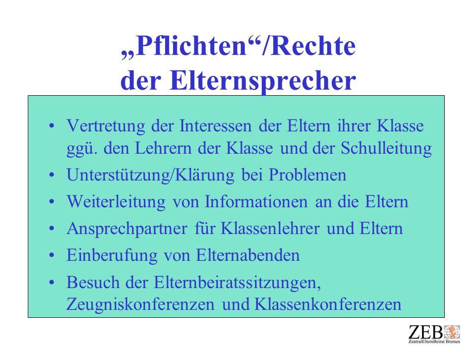 """""""Pflichten /Rechte der Elternsprecher"""