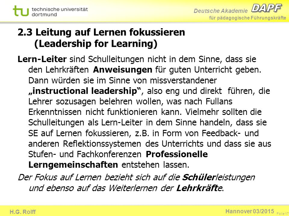 2.3 Leitung auf Lernen fokussieren (Leadership for Learning)