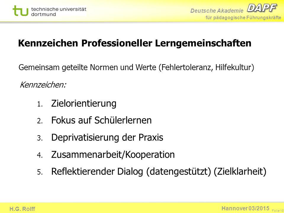 Kennzeichen Professioneller Lerngemeinschaften