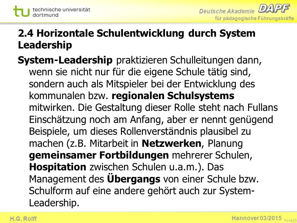 2.4 Horizontale Schulentwicklung durch System Leadership