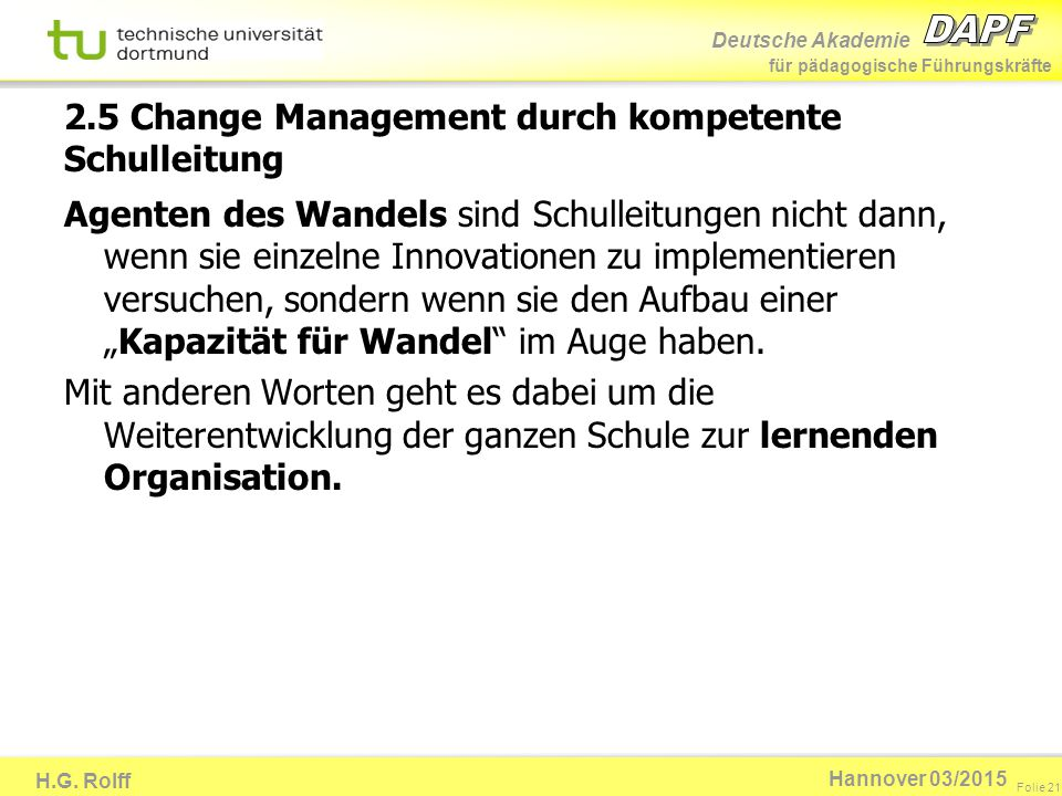 2.5 Change Management durch kompetente Schulleitung