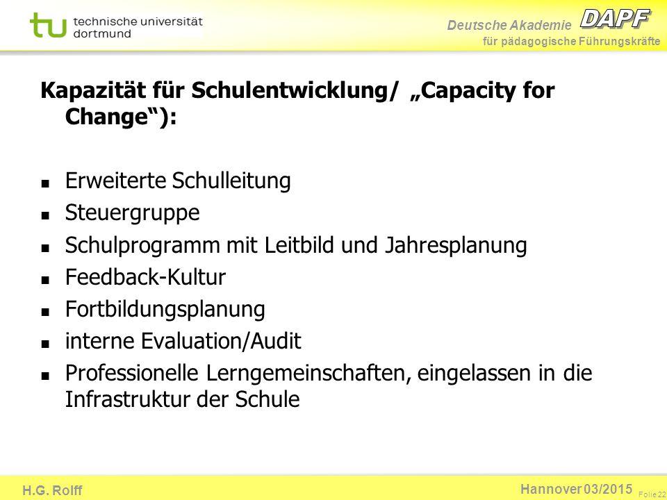 """Kapazität für Schulentwicklung/ """"Capacity for Change ):"""