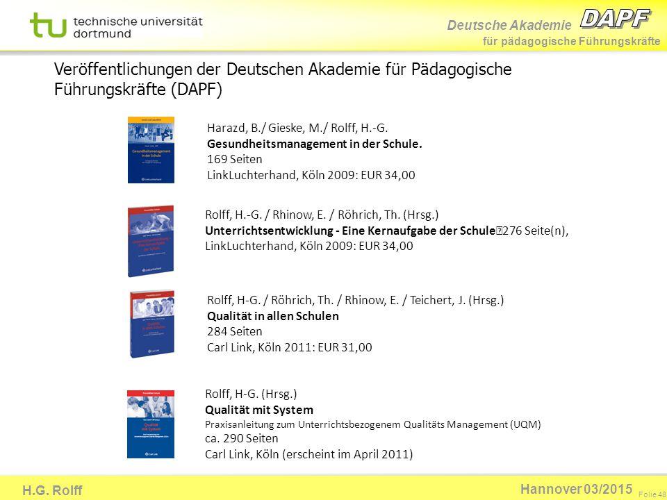 Veröffentlichungen der Deutschen Akademie für Pädagogische Führungskräfte (DAPF)
