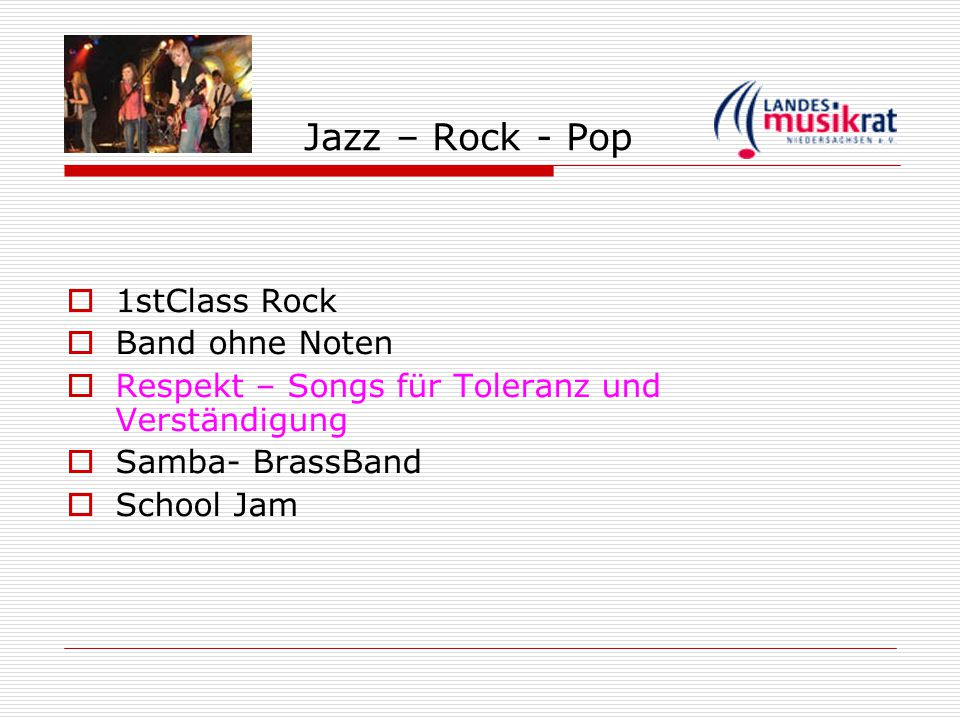 Jazz – Rock - Pop 1stClass Rock Band ohne Noten