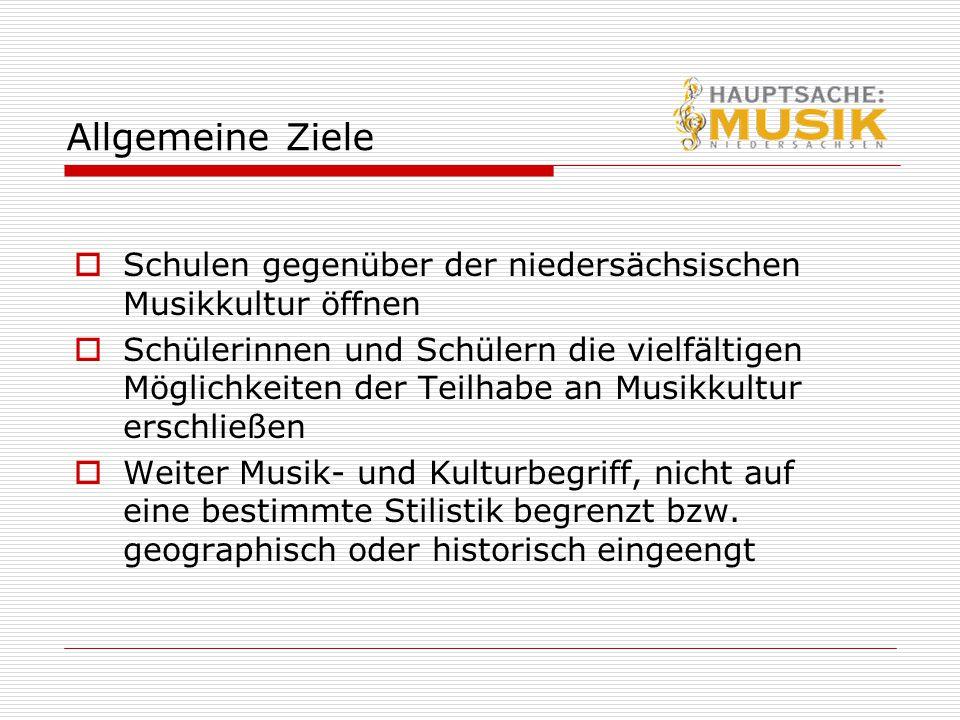 Allgemeine Ziele Schulen gegenüber der niedersächsischen Musikkultur öffnen.