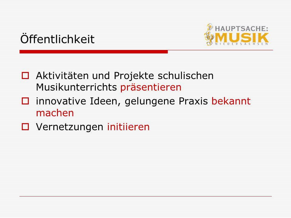 Öffentlichkeit Aktivitäten und Projekte schulischen Musikunterrichts präsentieren. innovative Ideen, gelungene Praxis bekannt machen.